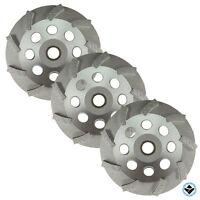 "3 Pack -4.5"" diamond grinding cup wheel turbo swirl 9 segs Non-Thread 5/8""-7""/8"