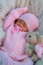 STUNNING REBORN LIFELIKE BABY GIRL IN SPANISH KNITTED SET FULL LIMBS 016