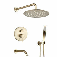 "12""Brushed Gold Luxury Shower Faucet Tub Spout Round Shower Head Tap W/Handheld"