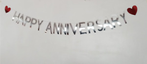 ''HAPPY ANNIVERSARY'' Silver Foil Banner/Bunting/Decorations. Red Heart