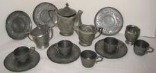 Antique 100 yr old Miniature Pewter Childs Dishes - 17 pcs TMP