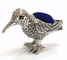 ANTIQUE STYLE BIRD PIN CUSHION WITH GLASS EYES STERLING SILVER 925 HALLMARKED