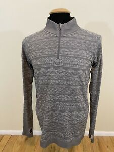 Lululemon Men's Small Gray Aztec Print 1/4 Quarter Zip Long Sleeve Pullover