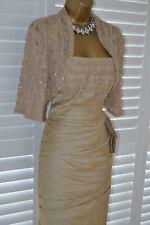 ~ VEROMIA ~ Pale Gold Sparkle Dress & Bolero Size 16 BNWT Mother of the Bride