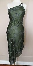 Vintage Scala Evening Gown Dress olive green silk w/sequins & beads Small Ladies