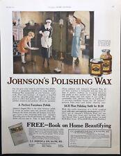 1923 ORIGINAL JOHNSON'S POLISHING WAX Vintage Large Magazine Ad Decor WHJ