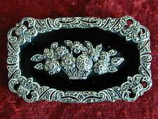 VINTAGE in Sterling Silver Marcasite Onyx Floreale Cesto Spilla Bavero Pin Art Deco