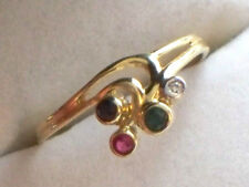 DAINTY 18CT GOLD DIAMOND EMERALD RUBY SAPPHIRE LADIES RING