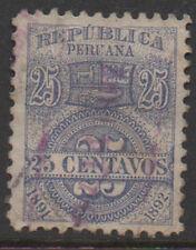 1891-2, 25c blue, Peru Fiscal, Revenue, Cinderella.