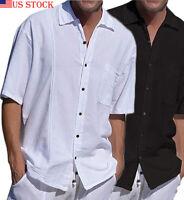 Mens Linen Short Sleeve Summer Solid Shirts Casual Loose Dress Soft Tops Tee USA