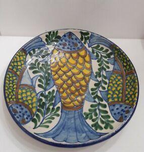 "Folk Art Pottery Hand Painted Bowl Decorative Wall Hanging Fish Blue Yellow 10"""
