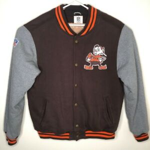 Cleveland Browns Unisex Adult Reebok Varsity Jacket Brown Orange Brownie NFL L