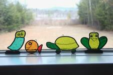 4 MidCentury 1970s Vintage Lead & Stained Glass Sun Catcher Owl Fish Frog Turtle