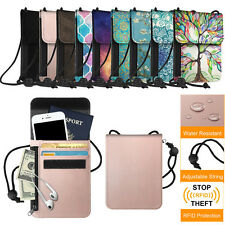 RFID Blocking Passport Holder Neck Pouch PU Leather Travel Wallet w/ Card Slots