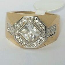 Mans his real 10k yellow Gold square princess cut man made diamond  Ring S 9