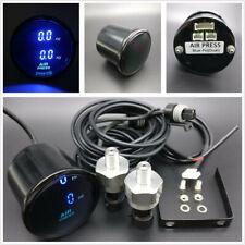 52mm/2'' Dual Air Pressure Gauge PSI Blue LED Air Suspension Meter w/2 Sensors