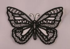 Embroidered Black Tattoo Pattern Tribal Wild B&W Butterfly Patch Iron On Sew On