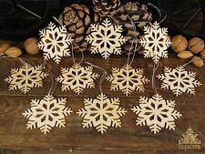 Set 10 Wooden Snowflakes Christmas Tree Decorations (C002)