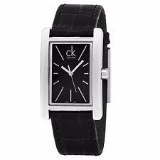 Calvin Klein Men's Refine Black Dial Leather Strap Swiss Quartz Watch K4P211C1