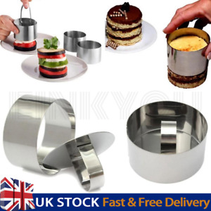 Round Mousse Mould Cake Steel Ring Pastry Mold Kitchen Baking Tool UK