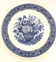 """Antique Art Pottery ~ BOCH DELFT Belgium Wall Plate ~ Blue Floral 12"""" Charger"""