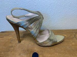 "Elie Tahari Heel Shoe Women Sz38.5 8.5US Gold Sling Back Open Toe Sandal 4"" High"