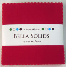 """Quilting Fabric Moda Charm Pack 42 X 5"""" Cotton Squares in Plain Red Bella Solids"""