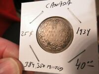 1934 Canada Silver Coin, 25 Cents, Nice, Low Mint, ONLY 385,000 Minted