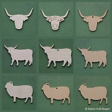 Sheep and cow shape wooden or mdf blank, Highland Scottish craft tag plaques
