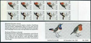 Norway 800-801a booklet,MNH.Michel 860-861 MH 6. Birds 1982.Blue-throat,Robin