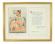 """1958 William Russell Button Watercolor Painting """"Picasso"""" Modern Art Exhibition"""