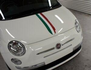 Italian Flag Bonnet Stripe For Fiat 500 595 Abarth Vinyl Decal Sticker Graphic