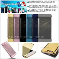 Etui Coque Miroir PU Leather Mirror Wallet Case Huawei Samsung Galaxy iPhone etc