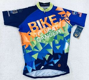 "Canari Cycling Jersey Blue ""Bike to Beat Cancer"" Men's Size Small New"