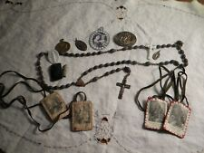 Wooden rosary beads, assorted medals and vintage Christian articles