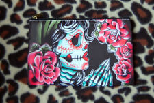 Tattoo Flash Day of the Dead Sugar Skull Cosmetic Bag Small Makeup Case Goth Art