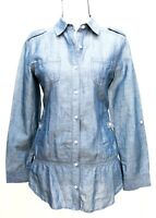 Chico's Women's Size 0 Button-Up Shirt Long Sleeve Denim Chambray