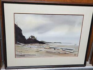 "Oregon Artist Charles Mulvey Original Watercolor 14 1/2"" X 21"" Signed Framed"