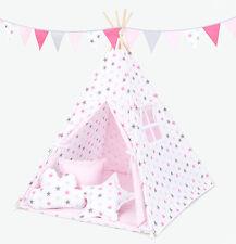 Tipi Teepee Kinderzelt 150 cm Wigwam 3 Kissen Bodenmatte Sterne Rosa Grau /Rosa