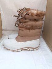 Ladies Calf High Fleece Lined Winter Snow Boots - Brown & Cream - EU 39/40