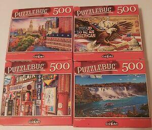 Lot 4x500 PC Puzzlebug puzzles Niagra Falls, Route 66, Boston, & Proud American