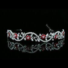 Apple Red Bridal Flower Rhinestones Crystal Wedding Tiara Headband 7558