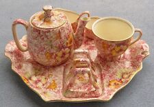 Royal Winton Dorset Pink Floral Chintz 6-Piece Breakfast Tray Set