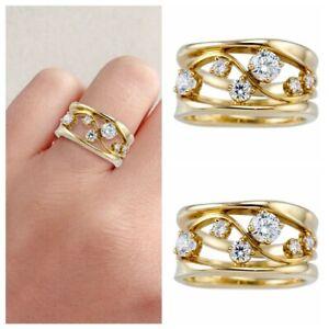 Fashion Gold White Crystal Gem Ring Women Bridal Wedding Jewelry Sz6-10