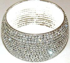 Beautiful 15 Row Silver Diamante Crystal Bangle Diamonte Bracelet