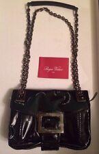 New Roger Vivier Metro Black Patent Leather Bag cross body, $2250, BNT