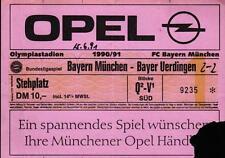 Ticket BL 90/91 FC Bayern München - Bayer Uerdingen, Stehplatz