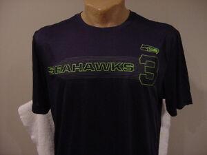SWEET Seattle Seahawks Russell Wilson Men's Lg Blue Majestic Cool Base Shirt!!
