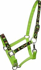 2 Ply LIME Nylon Horse Halter w/ Embroidered Navajo Design! NEW HORSE TACK!
