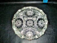 """Vintage Clear Glass Star of David Cigar Ashtray 8"""" Anchor Hocking Pressed Large"""